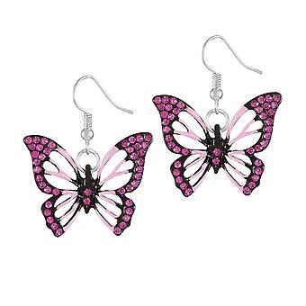 الأبدية جمع رفرفة من الفراشة الوردي الكريستال الفضة لهجة قطرة الأقراط مثقوب