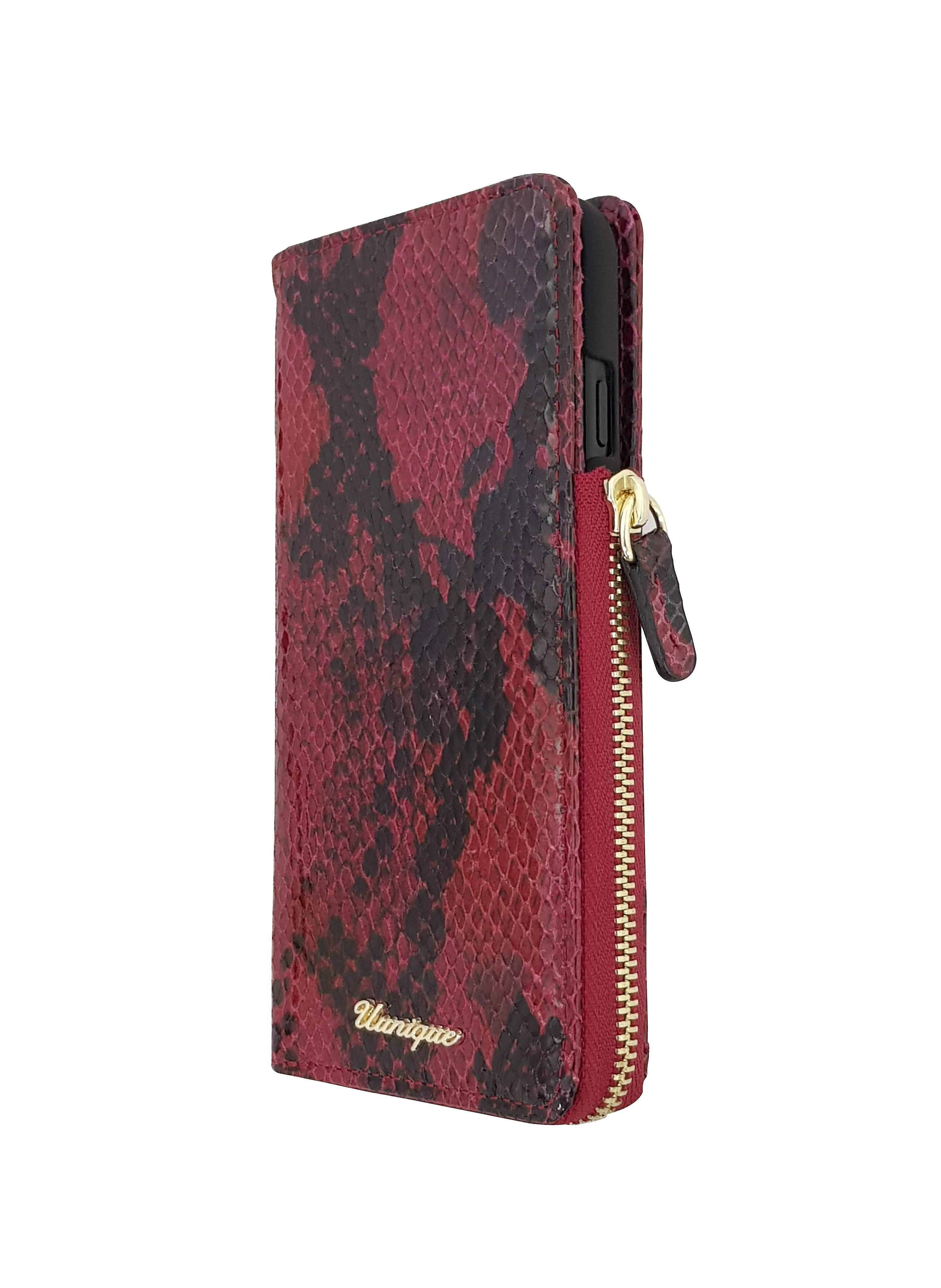 Snake Red Leather 2-in-1 Wallet iPhone 8 /7 Case