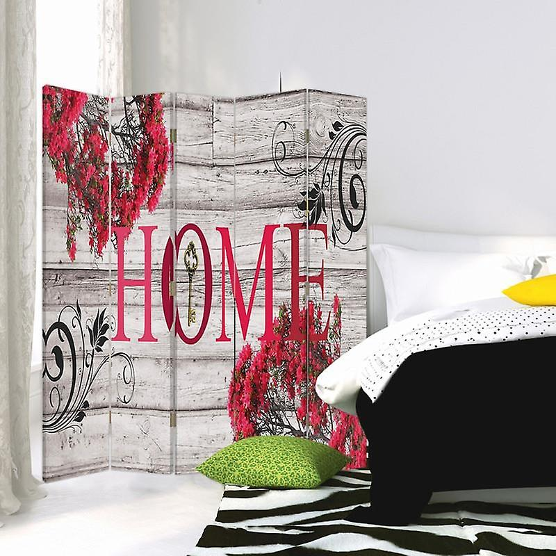 Room Divider, 5 panneaux, Double-Sided, Rotatable 360 ?? Canvas, Title Home With Flowers 2