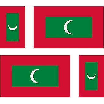 4 X Aufkleber Aufkleber Aufkleber Auto Motorrad Valise Pc tragbare Flagge Malediven Maldivi
