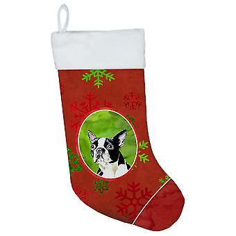 Boston Terrier Red and Green Snowflakes Holiday  Christmas Stocking