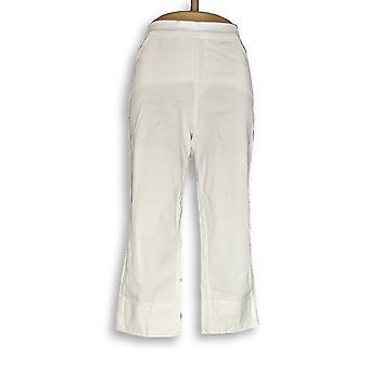 Isaac Mizrahi Live! Women's Petite Pants 12 24/7 Stretch Crop White A351755