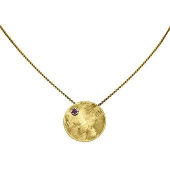 GEMSHINE halskjede anheng solid 925 sølv, forgylt eller Rose granat rød