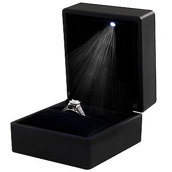 TRIXES Ring Box – Black LED Square Jewellery Box for Engagement Ring Black