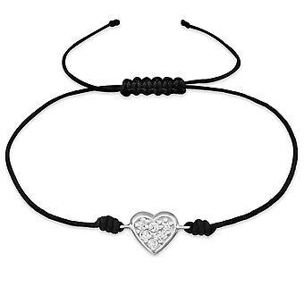 Heart - 925 Sterling Silver + Nylon Cord Corded Bracelets - W31777X