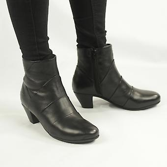 Cipriata Ginerva Ladies Leather Pleated Zip Up Ankle Boots Black