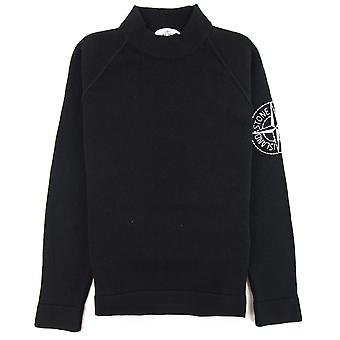 Stone Island Compass Embroidered Knitted Sweatshirt Black V0029