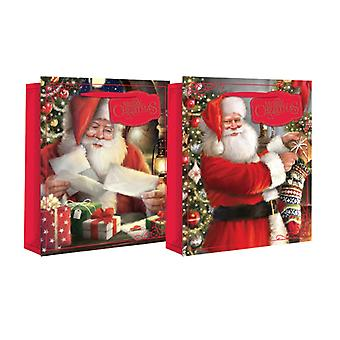 Eurowrap Christmas Wide Gusset Gift Bags with Traditional Santa Design (Pack of 12)