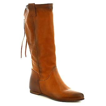 Leonardo Shoes Bottes faites à la main pour femme à l'intérieur de la plate-forme en cuir de veau tan