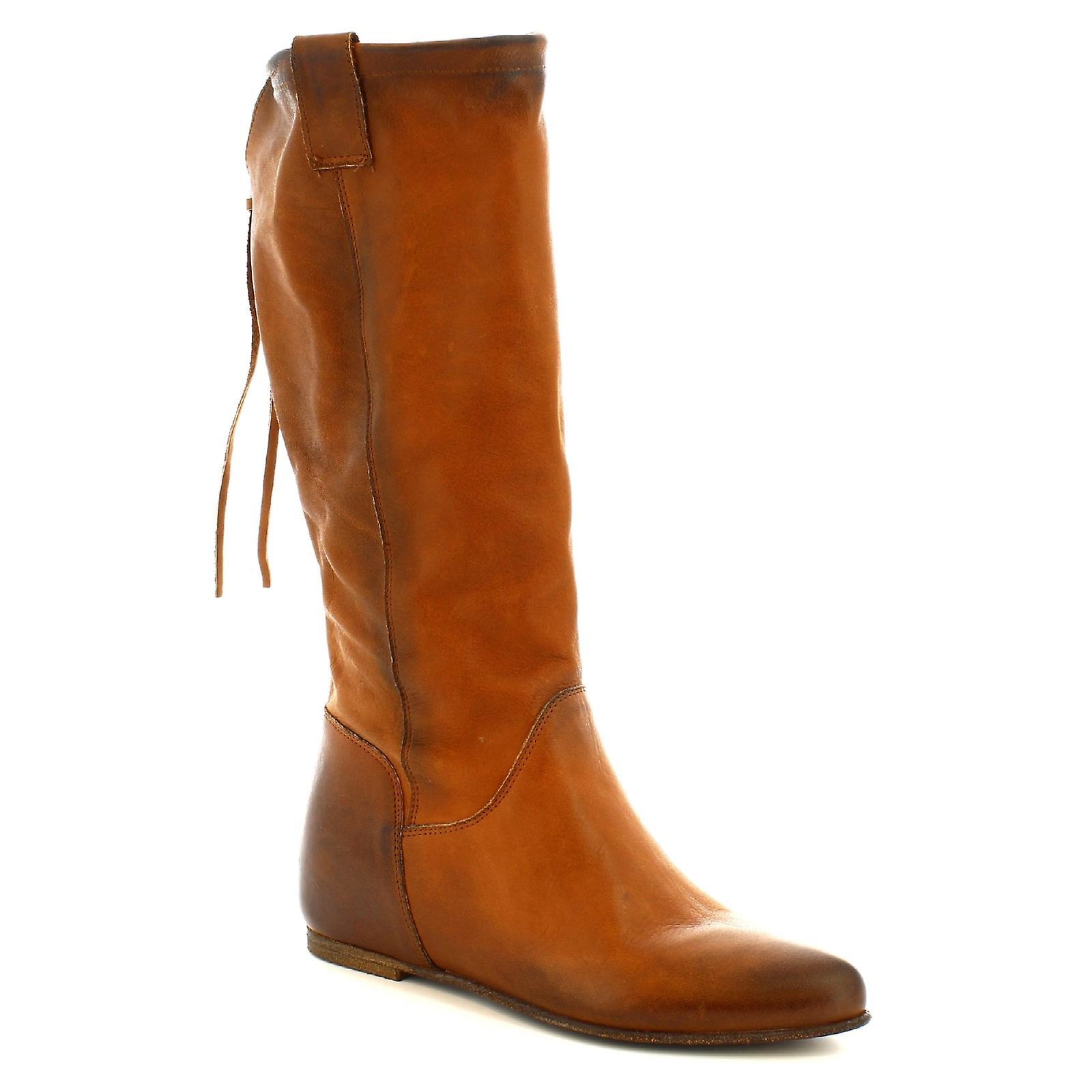 Leonardo Shoes Women's handmade boots inside platform in tan calf leather NVBTZ