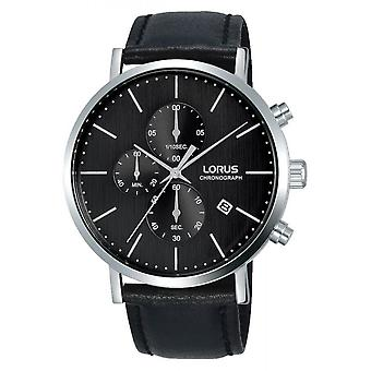 Reloj Lorus RM317FX8 - Cronógrafo/Dateur Pulsera de cuero negro Bo tier Plata Acero Hombres