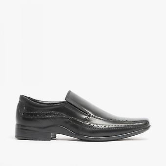 Front Sealey mens Leather Smart slip op schoenen zwart