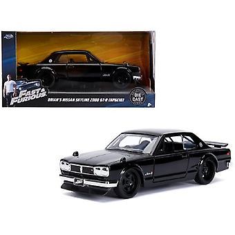 Brian'S Nissan Skyline 2000 Gt-R (Kpgc10) Negro Rápido & Furioso Película 1/32 Diecast Modelo Coche Por Jada