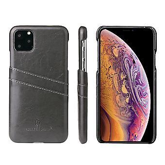 Für iPhone 11 Pro Case Deluxe Leder Brieftasche zurück schlanke Schutzhülle grau