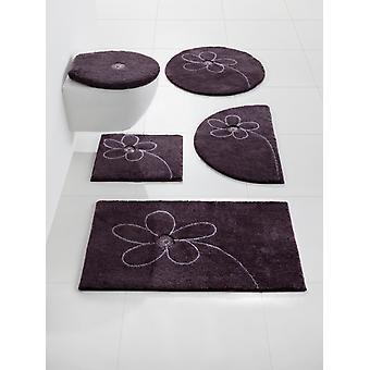 Basic bath mat bathroom rug anti-slip plum with genuine Swarovski crystals 50 x 90 cm