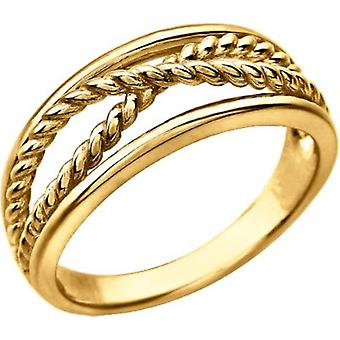14k Yellow Gold Rope Crossover Ring  Size 6.5 Jewelry Gifts for Women - 3.8 Grams