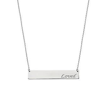 925 Sterling Silver Rhodium Plated Side ways Bar Loved Engraving Necklace 18 Inch Jewelry Gifts for Women