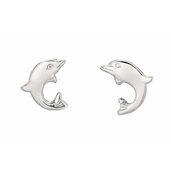 925 Sterling Silber mit Rhodium Finish glänzend kleine Delphin für Jungen oder Mädchen Post Ohrringe