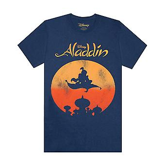 Disney Aladdin Magic Carpet Silhouette Men's Short Sleeve Cotton T-shirt
