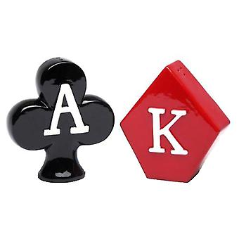 Poker Hand Ace of Clubs King of Diamonds Salt and Pepper Shakers