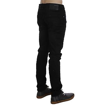Acht Black Wash Cotton Stretch Slim Fit Jeans