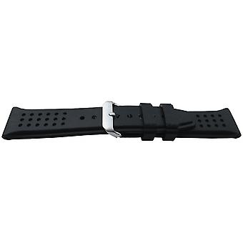 Black rubber watch strap with dimple texture stainless steel buckle 22 to 24mm
