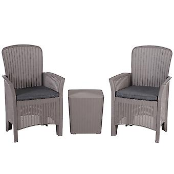 Outsunny 3 PCs Rattan Effect Bistro Set Wicker Weave Chairs&Coffee Table - Grey