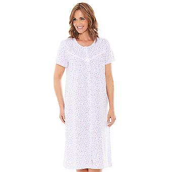 Chums Ladies Cotton Nightdress Jersey Lace Trim