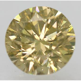 Certified 0.88 Light Brown VS2 Round Brilliant Enhanced Natural Diamond 6.01mm