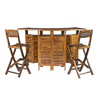 Extension - Folding Outdoor Garden Solid Hardwood Luxury Bar Table avec 2 chaises