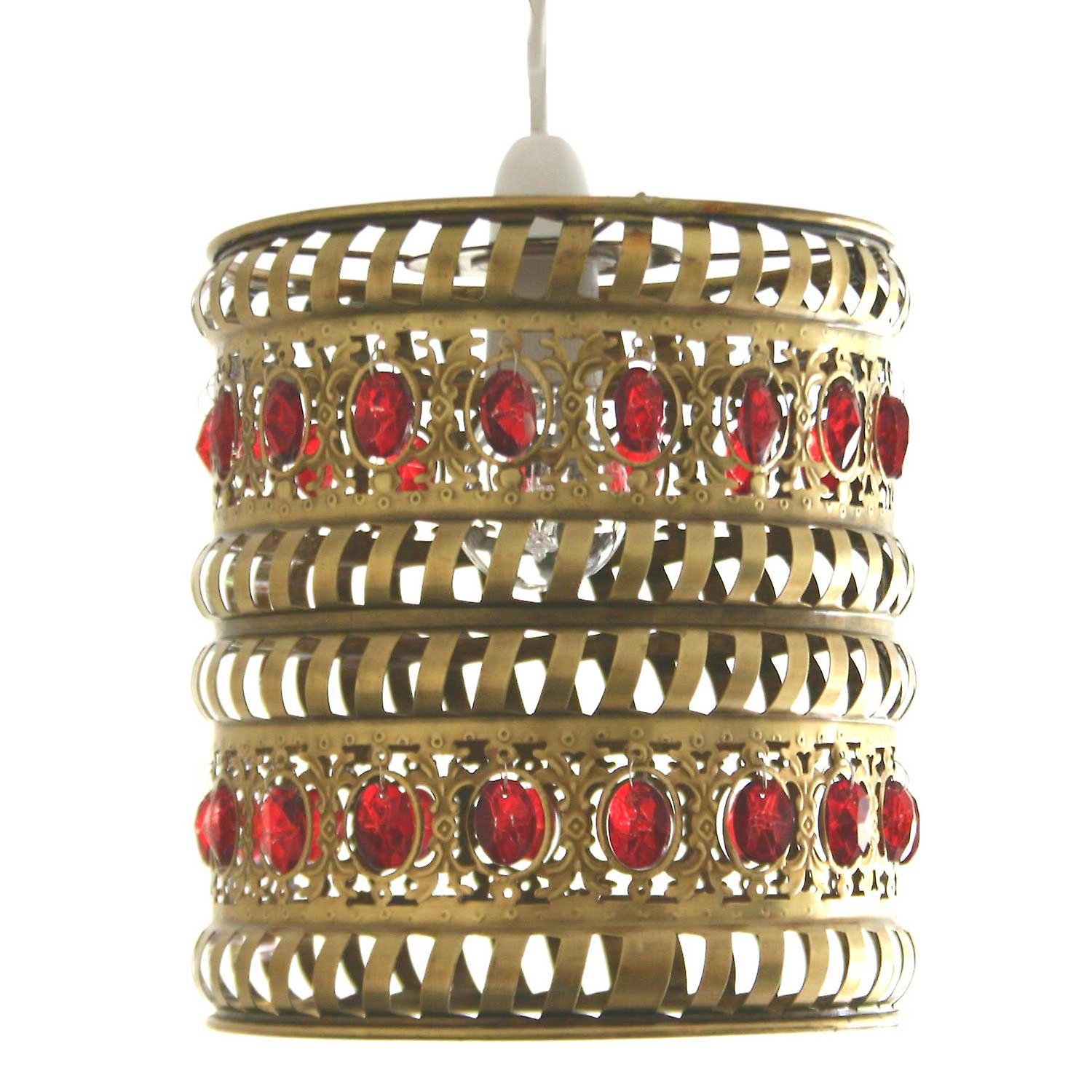 Moroccan Pendant Shade - Red Jewels & Antique Brass