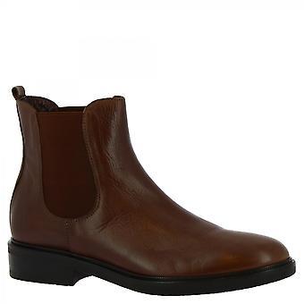 Leonardo Shoes Women's handmade fashion chelsea boots brown calf leather