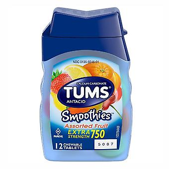 Tums smoothies extra strength, tablets, assorted fruit, 9 packs x 12 ea