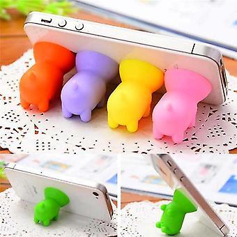 Mini silikon söt gris form sucker telefon stativ mobiltelefon gummihållare för telefon tablett