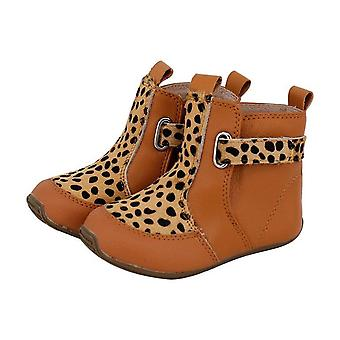 SKEANIE Toddler and Kids Leather Cambridge Boots in Tan Leopard