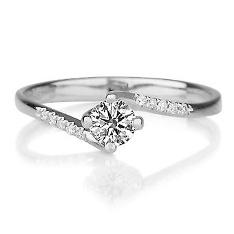 1/2 Carat D VS1 Diamond Engagement Ring 14k White Gold Twist Ring Micro Pave Vintage Ring