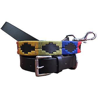 Carlos diaz genuine leather  polo dog collar and lead set cdkupb411