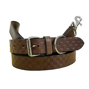 Bradley crompton genuine leather matching pair dog collar and lead set bcdc13brown