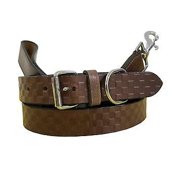 Bradley crompton véritable cuir correspondant collier de chien paire et ensemble de plomb bcdc13brown