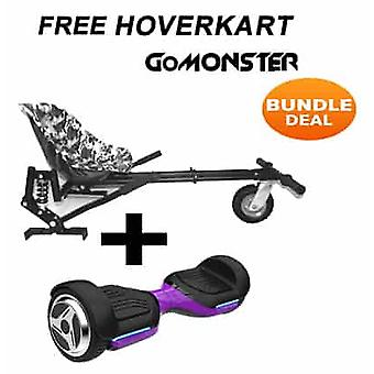 "6.5"" G PRO Purple Bluetooth Hoverboard with Go Monster Hoverkart in Camo"