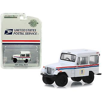 1971 Jeep DJ-5 United States Postal Service (USPS) White Hobby Exclusive 1/64 Diecast Model Car par Greenlight