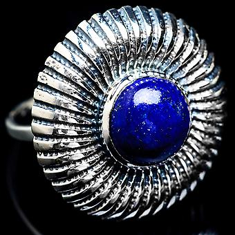 Large Lapis Lazuli Ring Size 8.25 (925 Sterling Silver)  - Handmade Boho Vintage Jewelry RING4931