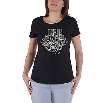 Johnny Cash T Shirt Eagle & Guitar Logo new Official Womens Skinny Fit Black
