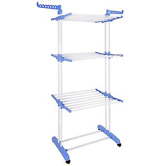 Aquaterior Foldable 3 Tier Clothes Drying Rack Rolling Collapsible Laundry Dryer Hanger Stand Rail Indoor Blue