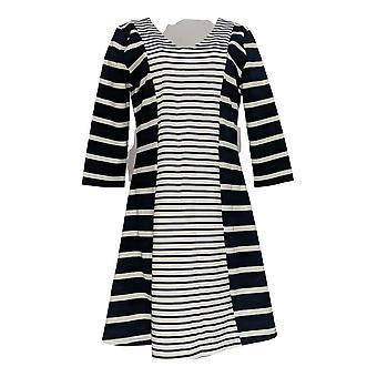 Masseys Dress Three-Quarter Sleeve Fit-and-Flare Navy Blue / White