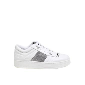 Jimmy Choo Hawaiiffafwhtsilver Women's White Leather Sneakers