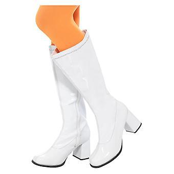 Kvinders 60'erne Hvid GoGo Støvler Fancy Dress Tilbehør