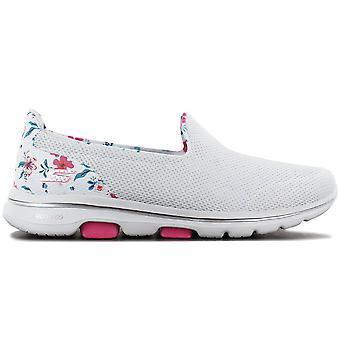 Skechers GOwalk 5 Bloemig - Damesschoenen Wit 124004-WMLT Sneakers Sportschoenen