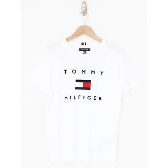 טומי הילפיגר טומי דגל טי - לבן