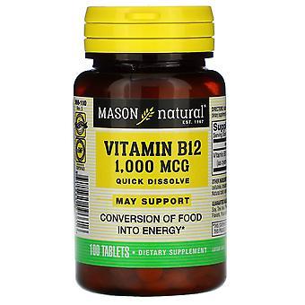 Mason Natural, Vitamin B-12, Quick Dissolve, 1,000 mcg, 100 Tablets